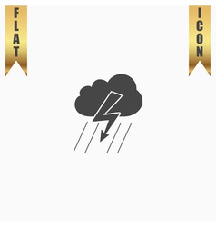 Cloud thunderstorm lightning rain icon vector image vector image