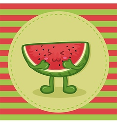 Cute Watermelon Fruit Slice Mascot vector image vector image