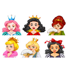 different characters of queens and princesses vector image vector image