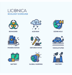 Ecology - coloured modern single line icons set vector