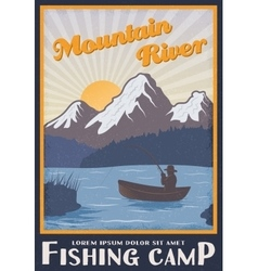 Fishing camp near mountain river poster vector