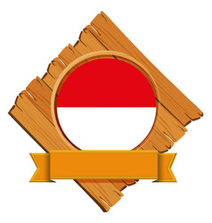 Flag of indonesia on wooden board vector
