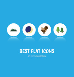 Flat icon ecology set of half moon bird peak and vector