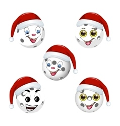 Floorball ball in the hat of santa claus vector