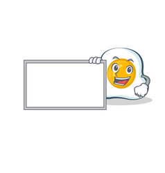 Fried egg character cartoon with board vector