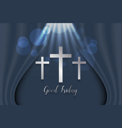 Good friday background with silver cross vector
