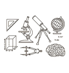 Graphical science and knowledge linear symbols vector image vector image