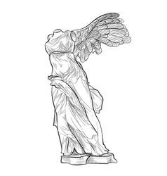 Greek famous nike statue greece landmark symbol vector