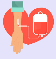 Hand with a blood donation bag and tube on the vector