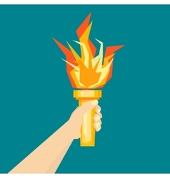 Human hand with fire torch vector