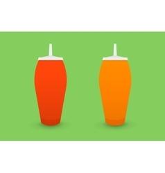 Ketchup and mustard bootles vector