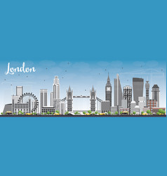 London skyline with gray buildings and blue sky vector