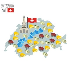 Map of Switzerland Attraction of Berne Cathedral vector image vector image