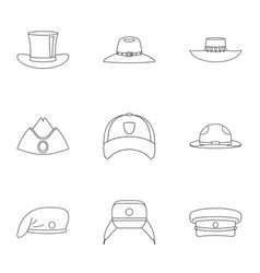 modern hat icon set outline style vector image