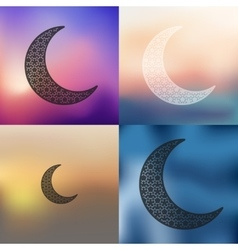 Moon icon on blurred background vector