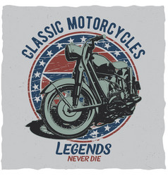 Motorcycle t-shirt label design vector