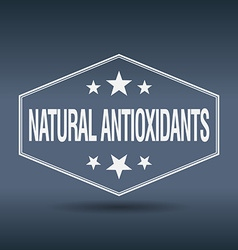 Natural antioxidants hexagonal white vintage retro vector