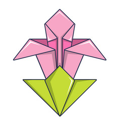 origami flower icon cartoon style vector image