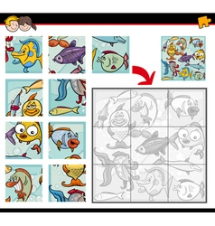sea life jigsaw puzzles vector image