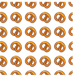 seamless pattern with delicious pretzel vector image