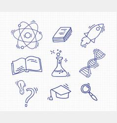 Set of hand drawn school icons vector