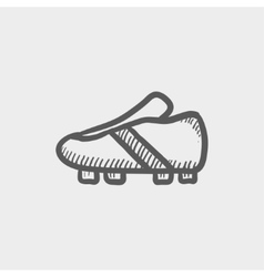 Soccer shoes sketch icon vector