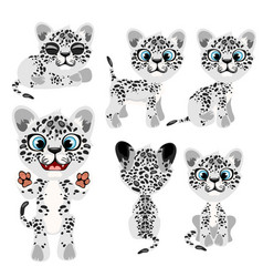 Spotted gray tiger cub in different poses and mood vector