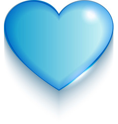 Transparent blue valentine heart on white vector image