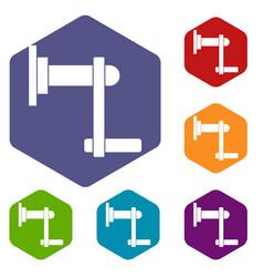 Twist tool icons set hexagon vector