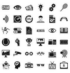 Video film icons set simple style vector