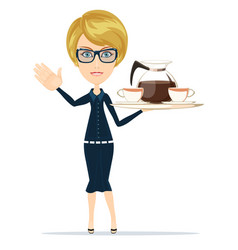 Waitress serving coffee or tea vector