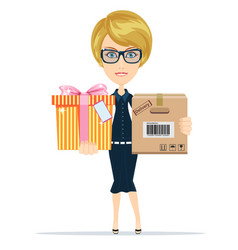 woman getting a parcel vector image