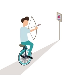 Business aiming target while riding cycle vector