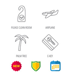 Palm tree air-plane and e-key icons vector
