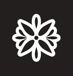 Style black and white icon arabic flower logo vector