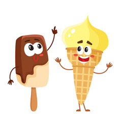 Two funny ice cream characters - vanilla cone and vector