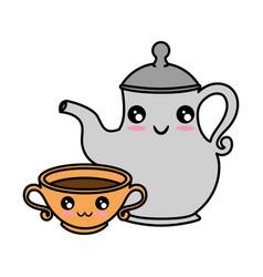 cute teapot kitchenware kawaii cute cartoon vector image