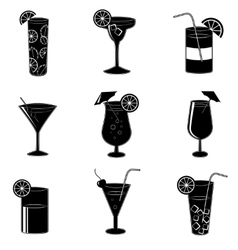 Pictograms of party cocktails with alcohol vector
