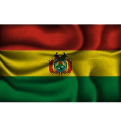 Crumpled flag of bolivia on a light background vector