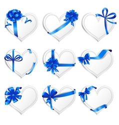 Set of beautiful heart-shaped cards with blue gift vector