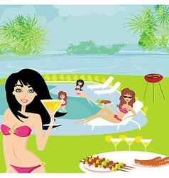 Barbecue party by the pool vector
