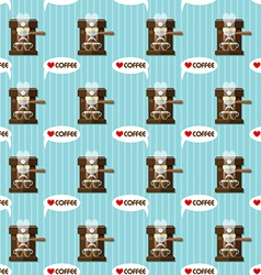 Coffee machine and coffee cups seamless pattern vector