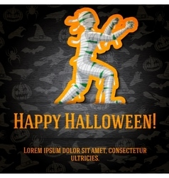 Happy halloween greeting card with mummy sticker vector