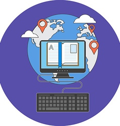 Distance education concept flat design icon in vector