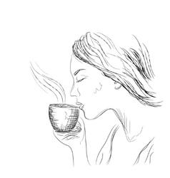 Girl drinking coffee vector image