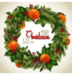 Christmas fir wreath vector
