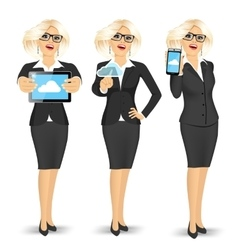 Businesswoman using cloud computing vector