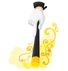 Hand holding magic wand vector