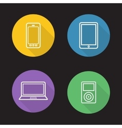 Modern gadgets flat linear icons set vector