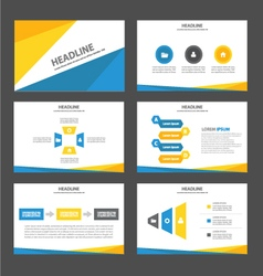 Blue yellow presentation templates infographic vector